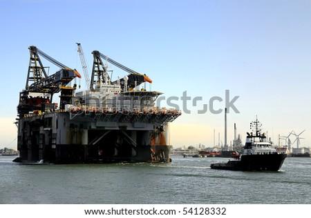 Deepwater construction vessel - stock photo
