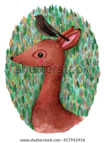 Deer and bird. Watercolor illustration. Hand drawn - stock photo