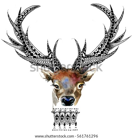 Deer Animal Head Print For Anti Stress Coloring Page Hand Drawn Illustration Ethnic Ornament