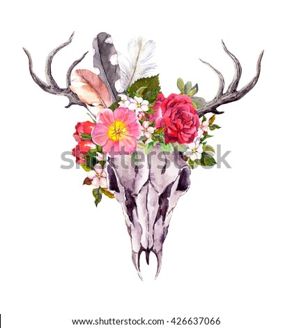 Deer animal skull with flowers and feathers. Watercolor in vintage style - stock photo