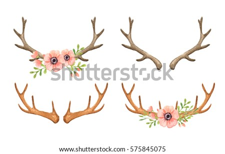 deer antler watercolor clip art woodland stock illustration rh shutterstock com single deer antler clip art deer antler silhouette clip art