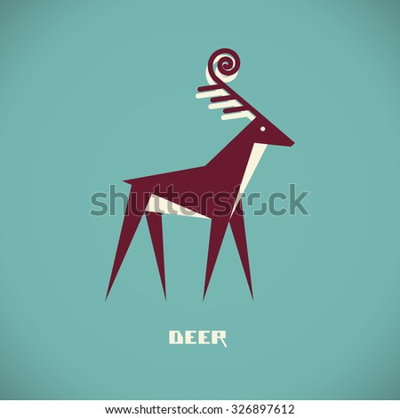 Deer icon. Flat sign for logo design template. Original decorative illustration for print, web - stock photo