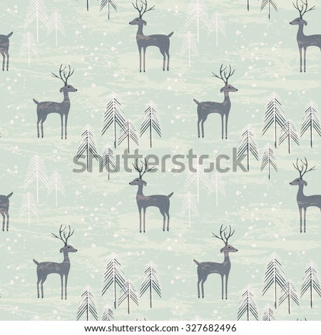 Deer in winter pine forest. Seamless pattern with hand drawn design for Christmas and New Year greeting cards, fabric, wrapping paper, invitation, stationery. - stock photo