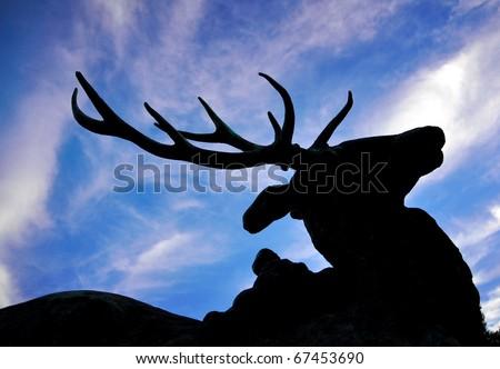 deer silhouette - stock photo