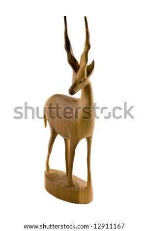 Deer wood sculpture isolated on white background - stock photo