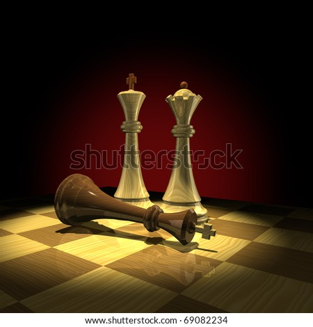 Defeat of black King - stock photo