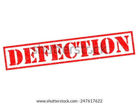 DEFECTION red Rubber Stamp over a white background. - stock photo