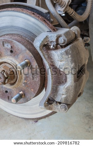 Defective brake disc Wait for the new maintenance - stock photo