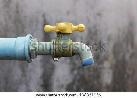 Defective faucet. Cause wastage of water. - stock photo