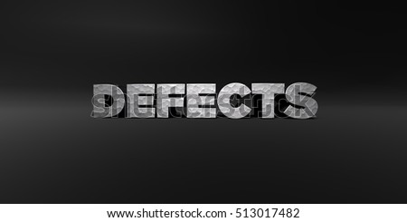 DEFECTS - hammered metal finish text on black studio - 3D rendered royalty free stock photo. This image can be used for an online website banner ad or a print postcard.