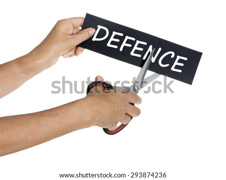 Defence cuts. Female hand slices sign. Isolated on white.