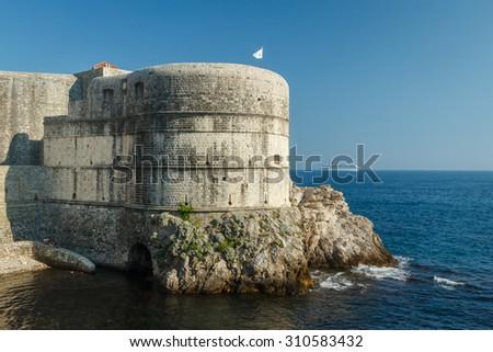 Defense tower of Dubrovnik fortress, Croatia - stock photo