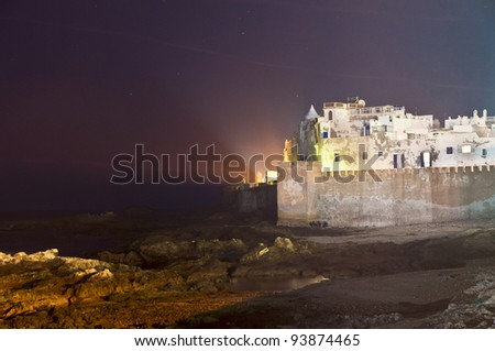 Defensive walls of Essaouira city along the atlantic ocean coast, Morocco