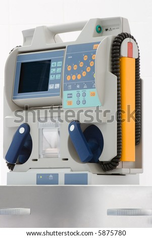 defibrillator for emergency room - stock photo