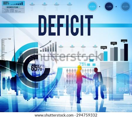Deficit Crisis Financial Economic Bankruptcy Concept - stock photo