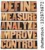 define, measure, analyze, improve, control - concept of continuous improvement process or cycle - isolated words in letterpress wood type blocks - stock photo