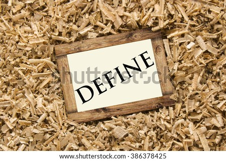 DEFINE Word On Wood Frame Stock Photo (Royalty Free) 386378425 ...