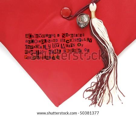 definition of achievement with graduation cap - stock photo