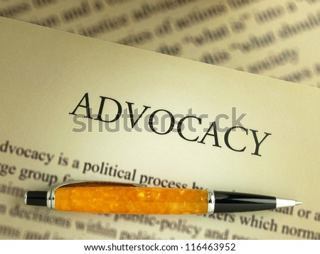 Definition of advocacy - stock photo