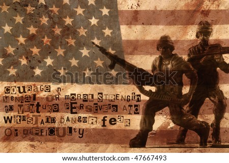 definition of courage with plastic army men and a worn flag - stock photo