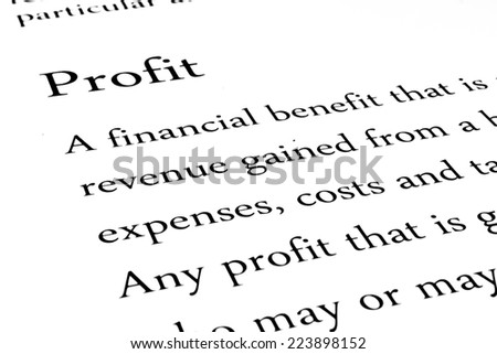 Definition of the word Profit - stock photo