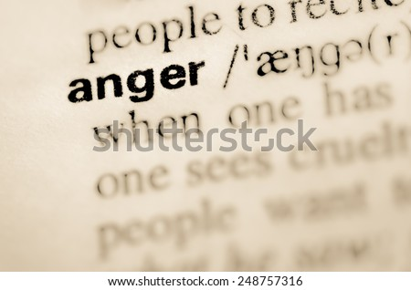 Definition of word anger in dictionary - stock photo