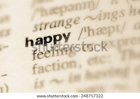 Definition of word happy in dictionary - stock photo