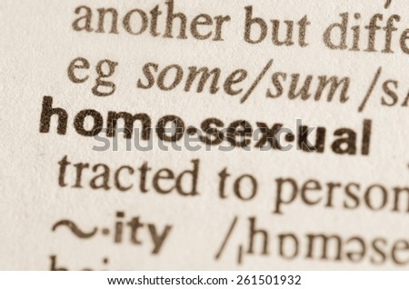 Definition of word homosexual in dictionary - stock photo