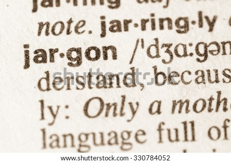 Definition of word jargon in dictionary - stock photo