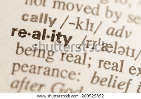 Definition of word reality in dictionary - stock photo