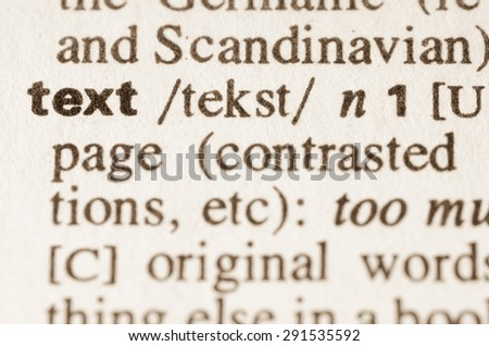 Definition of word text in dictionary - stock photo