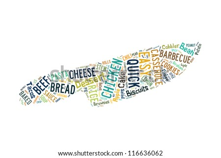 Definitions of culinary in knife shape collage - stock photo