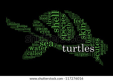 Definitions of turtle in word collage - stock photo