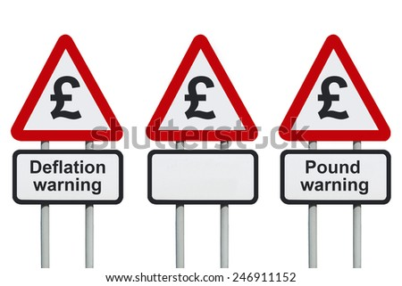 Deflation warning, pound symbol on a road sign                          - stock photo