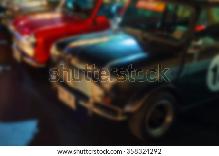 Defocus abstract of many classic austin mini cars - stock photo