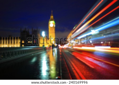 defocus bokeh blurred light of Big Ben and London at night, uk, united kingdom, England - stock photo