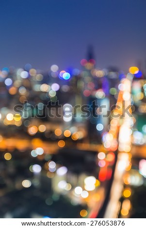 Defocus city junction aerial view traffice lights at night - stock photo