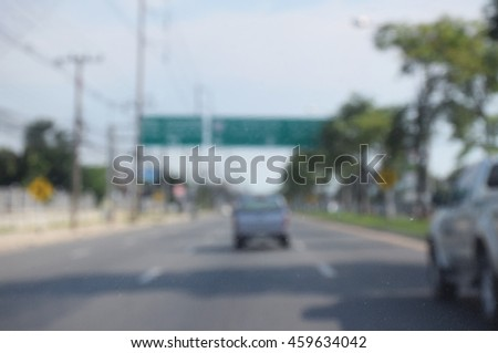 Defocus or blur background with traffic urban road. Inside view. - stock photo