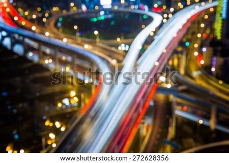 defocus view of city night. - stock photo