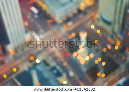 Defocused aerial view of Chicago downtown at evening - stock photo