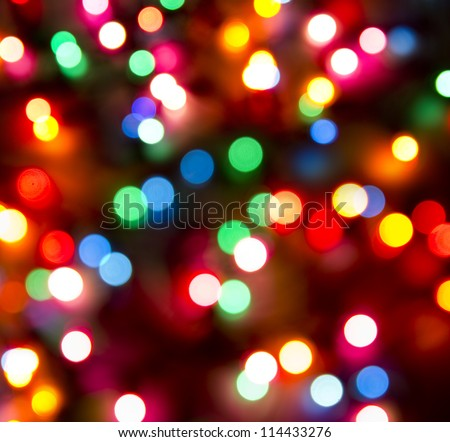 defocused christmas lights background - stock photo