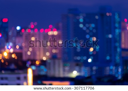 Defocused cityscape at night light background - stock photo