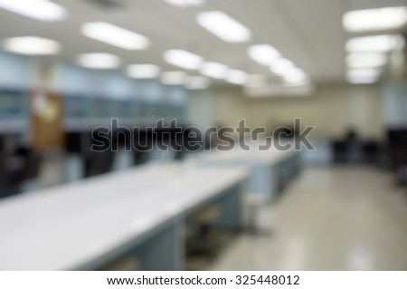 Defocused Classroom computers for background - stock photo