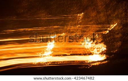 defocused fire flames texture blurred background .