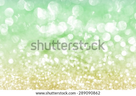 Defocused gold and green abstract christmas background - stock photo