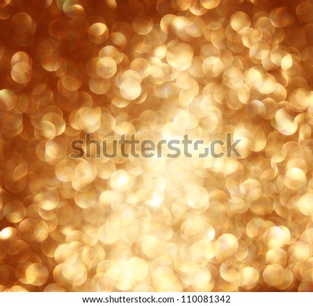 defocused golden lights background photo - stock photo