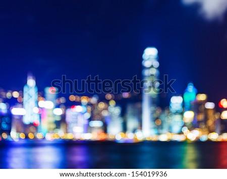 Defocused Hong Kong skyline - stock photo