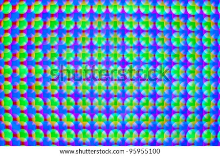 defocused RGB led diode display panel with red blue and green diodes turned on. Selective focus. Shallow depth of field. - stock photo