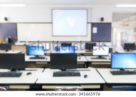 Defocused student study computer classroom for background. - stock photo