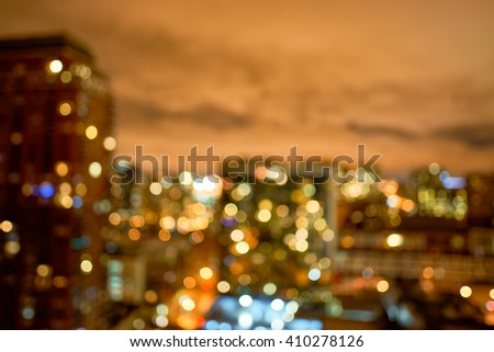 Defocused view of Chicago at night. May be used like background - stock photo